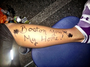 "Body Graffiti pre-race... ""Katie"" on left leg, ""Boston You're My Home"" on right. Means more now than ever before"